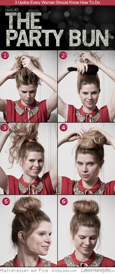 1. & 2. Form a high ponytail. Choose a polished look (by brushing) or a more undone look (smoothing with fingers). 3. Tease the pony tail. 4. Loosely wrap the pony tail into a coil. 5. Secure with bobby pins.