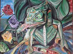 Acrylmalerei, Acrylicpaintings, Acryl und Sand auf Leinwand, Chamäleon mit Heuschrecke (60 x 80 cm),  chameleon, August 2018 Painting, Art, Canvas, Art Background, Painting Art, Kunst, Paintings, Performing Arts, Painted Canvas