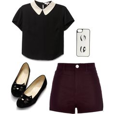 A fashion look from October 2015 by buster-bess-brownie featuring River Island, Kate Spade, croptop, shorts, maroon, cats e iphonecase