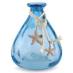 Cord & Starfish sea-blue glass vase.