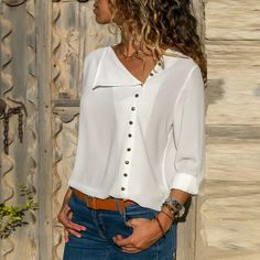 Blouse 2020 Fashion Long Sleeve Women Blouses and Tops Skew Collar Solid Office Shirt Casual Tops Blusas Chemise Femme Casual Tops, Casual Shirts, Casual Outfits, Blouse Styles, Blouse Designs, Look Jean, The Office Shirts, Long Blouse, Mode Inspiration