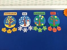 My seasonal chart - my chart Seasons - chart seasonal seasons - DecorationClassroom Preschool Classroom Decor, Kindergarten Crafts, Preschool Activities, Seasons Chart, Four Seasons, Math For Kids, Crafts For Kids, Clown Crafts, School Calendar