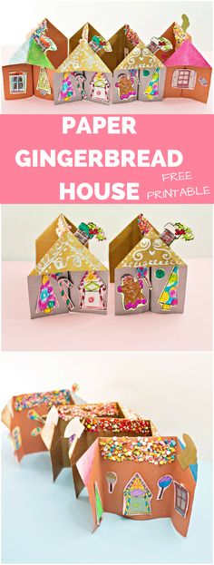 3D Paper Gingerbread House Craft. The kid will love making sprinkle roofs and decorating these paper gingerbread houses with the free printables included. #gingerbreadhouse #christmascrafts #christmascraftsforkids #gingerbread