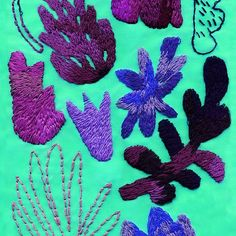 tropical leaves embroidered pattern