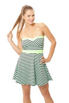 Stripe Me Tube Dress - Mint / Lime