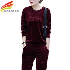 New Arrival 2017 Autumn Fashion Tracksuits Sportswear Women Clothing Plus Size Embroidery Gold Velvet Hoodies Runway Two Piece