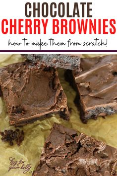 The sweetness of cherries brings a new level of flavor in these chocolate cherry brownies. Cherry and chocolate are a match made in heaven! #easychocolatecherrybrownies #chocolatecherrybrownies #chewybrownies #homemadebrownies No Bake Brownies, Fudgy Brownies, Salted Chocolate, Chocolate Cherry, My Favorite Food, Favorite Recipes, Cherry Brownies, Brownies From Scratch, Cooking For Beginners