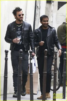 Justin Theroux & Aziz Ansari Match in Leather Jackets in Paris!