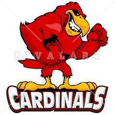 Mascot Clipart Image of Cardinals Logo In Color Graphic