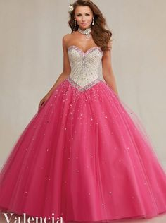 Elegant Ruffle Tulle Ball Gown Nude Top Hot Pink Two Tones Quinceanera Dresses with Crystal Bead Vestidos De Quinceaneras 89083