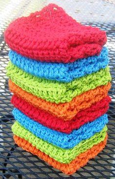Cotton Wash Cloths - Red, Blue, Green & Orange 004.jpg