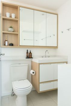 Don't make an effort to fit in each individual thing which you believe a bathroom should have. Hanging shower curtains to earn small bathroom appear b. Minimalist Bathroom Design, Bathroom Interior Design, Interior Shop, Studio Interior, Interior Doors, Interior Ideas, Vanity Design, Small Bathroom Storage, Hanging Bathroom Cabinet
