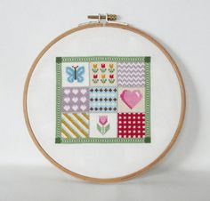 Patchwork Cross Stitch Pattern-butterfly, heart, tulip, gingham, colorful, PDF, instant download