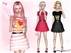 Valentine's day dress by CherryBerrySim - Sims 3 Downloads CC Caboodle