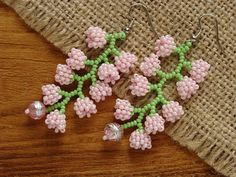 Beaded flower jewelry Pink lily of the valley Seed bead flower Bead Jewellery, Bead Earrings, Flower Earrings, Flower Jewelry, Handmade Beaded Jewelry, Beaded Jewelry Patterns, Earrings Handmade, Seed Bead Flowers, Beaded Flowers