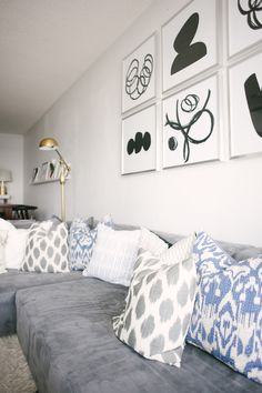 Cozy modern gray, blue and white living room