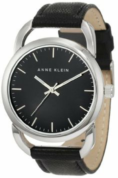 Anne Klein Women's 10/9927BKBK Silver-Tone Black Leather Strap Watch Anne Klein. $46.75. Silver-tone luminous hour and minute hands with stick second hand. Black dial with silver-tone hour markings. Open silver-tone lugs. Brown leather strap with silver-tone stainless steel buckle closure. Overzied silver-tone 38mm round case