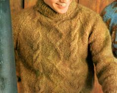 Men's Retro 60s Fisherman Knit Mohair Pullover Knitting Pattern