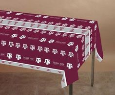"Texas AM Aggies Plastic Tablecover by Creative Converting. $10.71. From the Texas A University Party Supply Collection. Texas A Aggies Plastic Tablecover. Show your true colors with this tailgate party tablecover. Featuring authentic maroon and white team colors and A team logo. Measures 108"" x 54""."