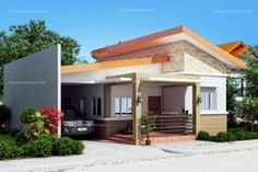Simple house designs are easy to layout due to its simplicity and efficiency. Cecile is a one story simple house design with a total floor area of 100 sq. 3 Storey House Design, Two Story House Design, One Storey House, Simple House Design, House Plans One Story, House Front Design, Bungalow House Plans, Bungalow House Design, House Extension Design