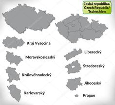 Mapa České republiky s ohraničením, šedá Geography For Kids, Czech Republic, Homeschool, Teaching, Education, Illustration, Milan, Geography, Dyslexia