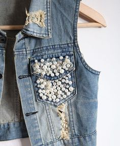 Pearl Embellishment Denim Vest with Epaulets: