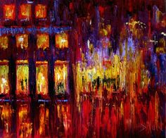 Impressionist Street Scene Art Cityscape Painting Oil on Canvas Night Paintings By Debra Hurd, painting by artist Debra Hurd