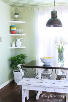 Love the shelves in the corner. Great for small spaces
