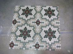 Tile design from American Restoration Tile. Hexagon Quilt Pattern, Hexagon Tiles, Hex Tile, Hexagon Quilting, Hexagon Patchwork, Quilting Projects, Quilting Designs, Quilting Ideas, Penny Tile