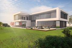 Moderne Architekt-Villa im Taunus bauen. Siegerentwurf aus internem Wettbewerb von FLOW. Geradlinige Formensprache und moderne Architektur.