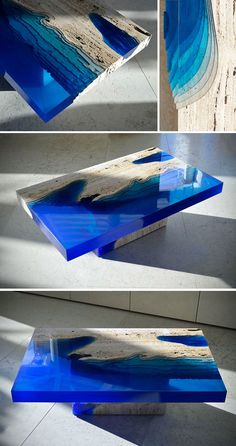 Artist merges resin with travertine to create an incredible optical illusio lagoon table. Artist merges resin with travertine to create an incredible optical illusio lagoon table. Diy Resin River Table, Wood Resin Table, Wood Projects, Woodworking Projects, Wood Table Design, Epoxy Resin Art, Resin Furniture, Travertine, Resin Crafts