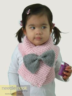 The Toddler/Child Bow Scarf - You Chose the Color - Knit Bow Scarf - Bow Accessory - Custom Made