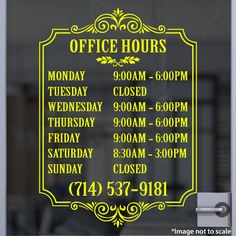 Custom Yellow Business Hour Sign | Stickertitans.com | Custom Business / Office / Shop / Salon / Restaurant Open Hour Vinyl Decal | Our Vinyl Signs are made from Oracal 651 | 470-585-2229
