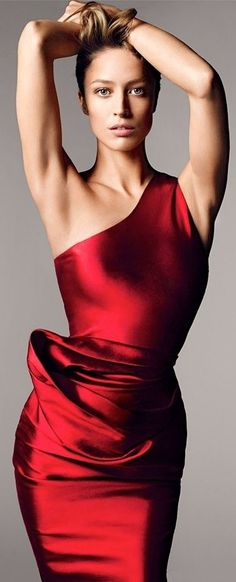 Satin red evening dress.