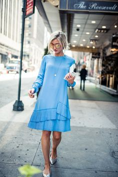 The prettiest blue pleated dress for fall.