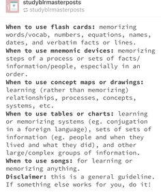 when to use flashcards/mnemonic devices/songs post on studying School Life Hacks, College Life Hacks, School Study Tips, School Tips, College Study Tips, Tips On Studying, Exam Study Tips, Study Techniques, Revision Techniques