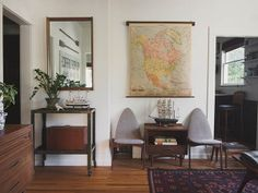 Antique North American Pull Down Map / Mid Century Chairs / Broyhill Sculptra / Industrial Shop Cart