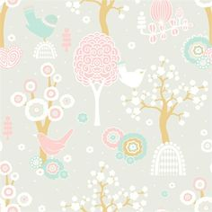 """Majvillan Wallpaper Company brings us this grey children's wallpaper """"Cherry Valley"""" where little birds sit on sweet dreams in a valley of flowers Non-Woven Wallpaper (paste the wall) Washable & Eco-Friendly Roll Size: x Repeat: Straight Match Grey Childrens Wallpaper, Grey Wallpaper, Kids Wallpaper, Little Girl Rooms, My Little Girl, Baby Tapeten, Valley Of Flowers, Cherry Valley, Wallpaper Companies"""