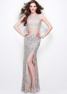e1a295a47 Primavera 1581 Nude Long Two Piece Sequin Prom Gown Evening Gowns Online,  Sequin Evening Gowns