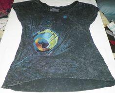 peacock feather print roxy brand no sleeves womens used tee shirt size mdium #Roxy #shirt