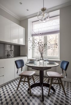 To understand the design concept of this small Moscow apartment of 53 sqm, we need to take into account that the owners live in another country, they come ✌Pufikhomes - source of home inspiration Cozy Kitchen, Kitchen Decor, Decor Interior Design, Interior Decorating, Dining Chairs, Dining Table, Diy Zimmer, Shabby, Cool Apartments