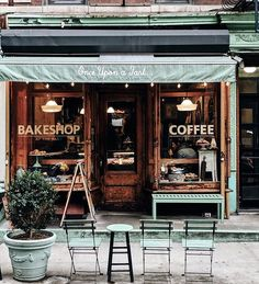 Cute coffee shops. Id love to go to some cute little bakery in france or england someday ☆☆☆