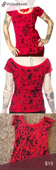 "Kreepsville 666 ""Devil Made Me Do It"" Top Cotton Off-the-shoulder top. Print includes devils, goat heads, pentagrams and more. Worn a few times, and no visible wear. Kreepsville 666 Tops Tees - Short Sleeve"