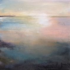 """""""Listen to the Silence"""" 16x16 an original abstract landscape that has a meditative feel to it. This has a metallic gold underpainting that peeks through to give the piece some luminescence."""