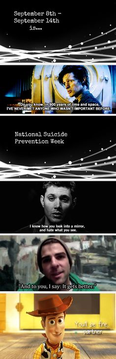 National Suicide Prevention Week || love this, love the quotes, love the actors!