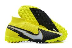 The Nike Mercurial Superfly VII 7 Elite TF yellow and black football boots are designed to increase speed. These uppers have been carefully designed to provide you with excellent traction in various field games. Black Football Boots, Superfly, Cleats, Nike, Games, Yellow, Fashion, Football Boots, Moda