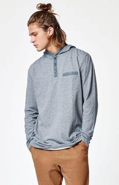 Sleep Striped Hooded Long Sleeve Henley T-Shirt