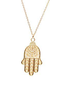 Hamsa necklace  gold hamsa charm  a filigree style 22k by BubuRuby, $28.00