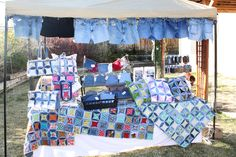 My Craft Show booth with all my Recycled Denim Jean STUFF (before Inventive Denim)!