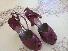 Vintage 40s Beleganti Handmade Shoes Peep Toe Red Alligator Leather Size 7 1/2 B